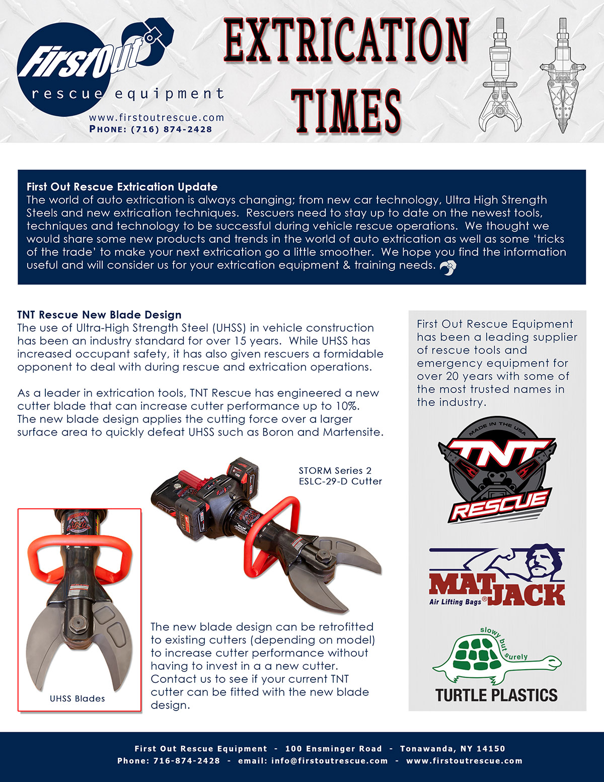 September 2018 First Out Rescue Equipment News Letter